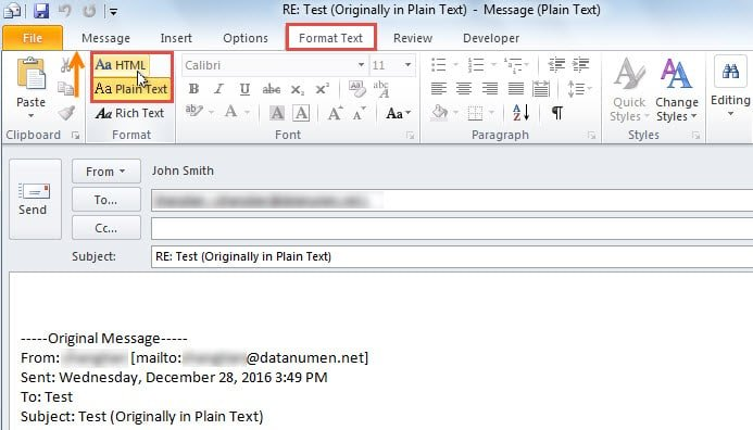 how to change reply in outlook to html