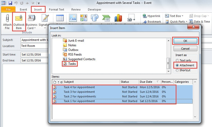 """Link Tasks with an Appointment via """"Insert Outlook Items"""""""