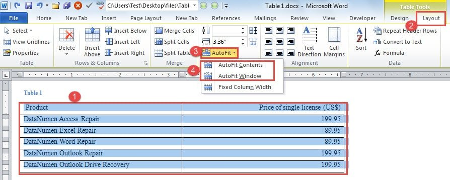 how to change size of table of contents in word