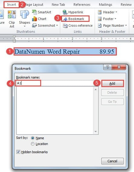 "Select Text ->Click ""Insert"" ->Click ""Bookmark"" ->Name the Bookmark ->Click ""Add"""