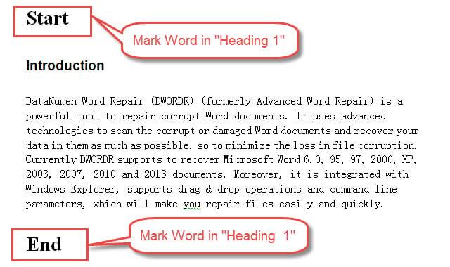 "Set Mark Words in ""Heading 1"""