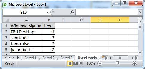Create A New Sheet Within The Workbook Called UserLevel