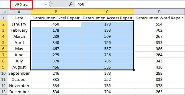 Name Box of the Number of Rows and Columns