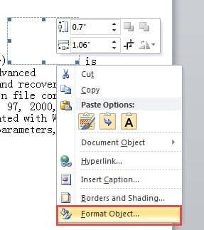 """Choose """"Format Object"""""""