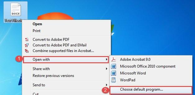 "Choose ""Open with"" ->Click ""Choose default program"""