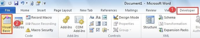 """Click """"Developer""""->Click """"Visual Basic"""""""