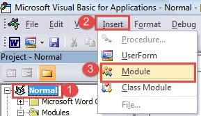 """Click """"Normal"""" ->Click """"Insert"""" ->Click """"Module"""""""