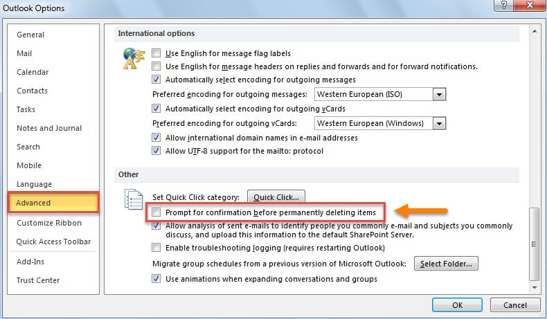 Disable Warning Message When Permanently Deleting Outlook Items