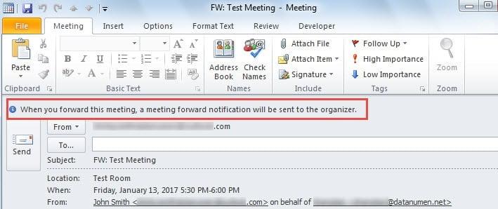 Reminder: Meeting Foward Notification to the Organizer