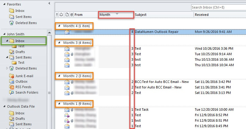Group Your Received Emails by their Durations in Month since Received