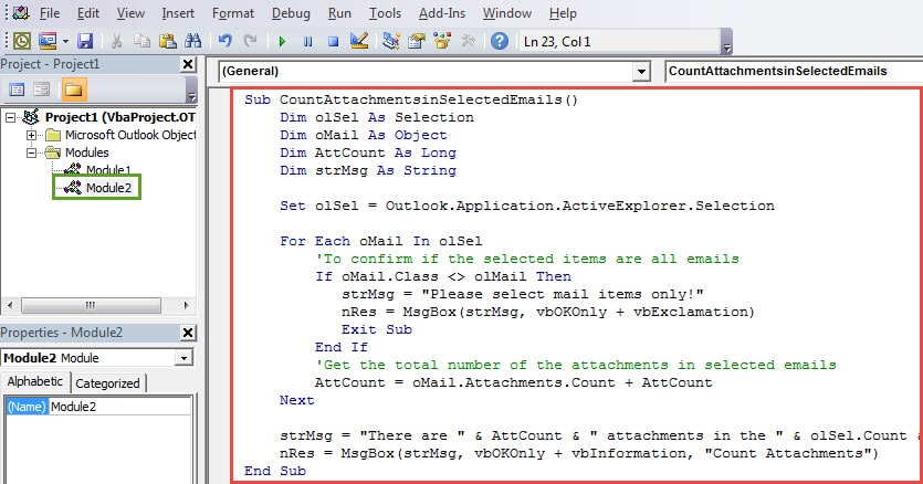 VBA Codes - Get the Total Number of Attachments in Selected Emails