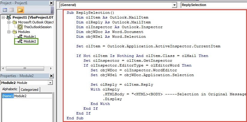 VBA Codes - Only Keep the Selected Texts in Your Reply Email