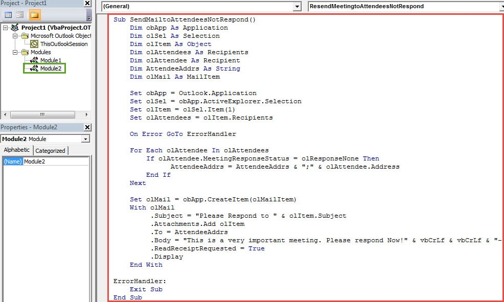 VBA Codes - Send a Notification Mail to the Meeting Attendees Who Haven't Responded