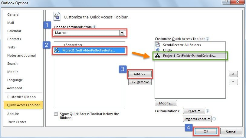 Add the New Macro to Quick Access Toolbar
