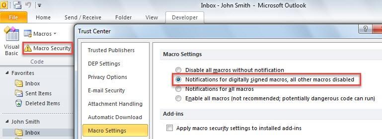 Change Your Macro Security Settings