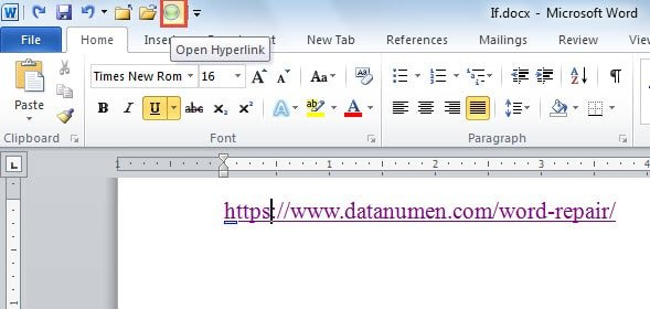 hyperlink to a pdf file in word