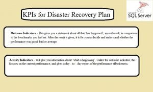 KPIs For Disaster Recovery Plan