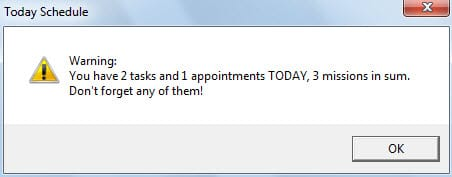 Message Box of Today Schedule