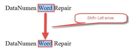 """Press """"Shift+ Left Arrow"""""""