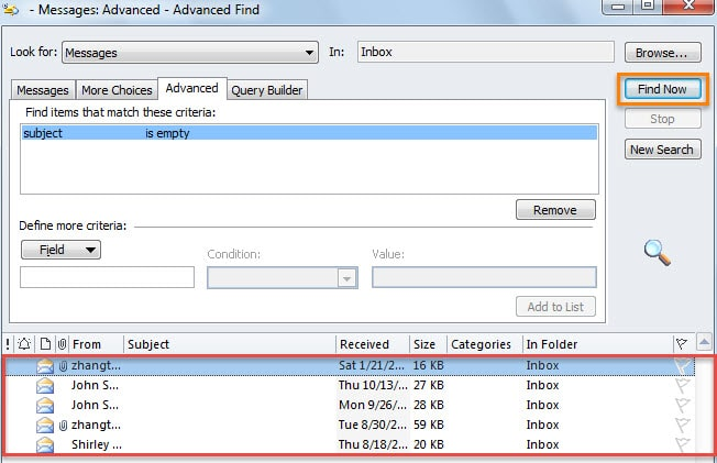 Search for the Emails without a Subject via Advanced Find