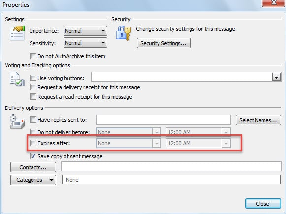 Set Expiry Time for Emails Manually