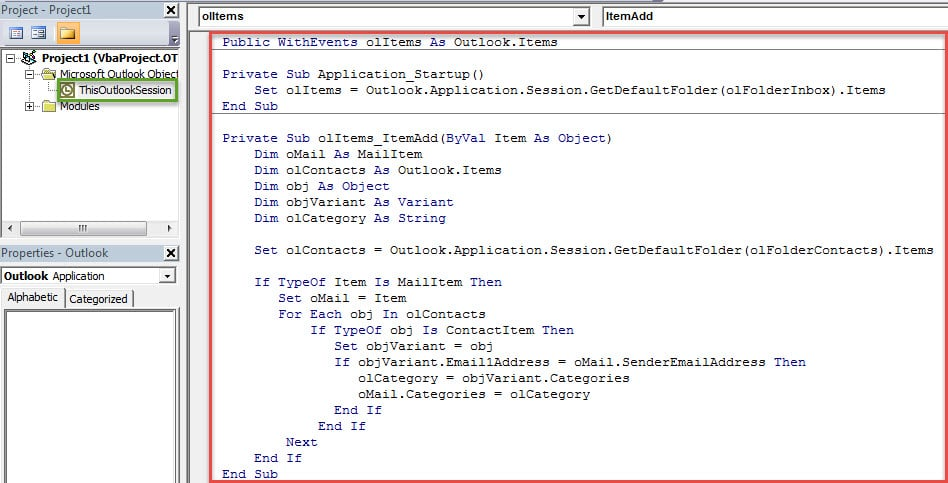 VBA Codes - Auto Categorize the New Incoming Emails Based on the Senders' Contact Categories