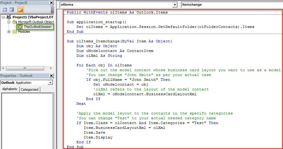 VBA Codes - Auto Change the Layout of a Contact Business Card When a Specific Category Is Assigned to It