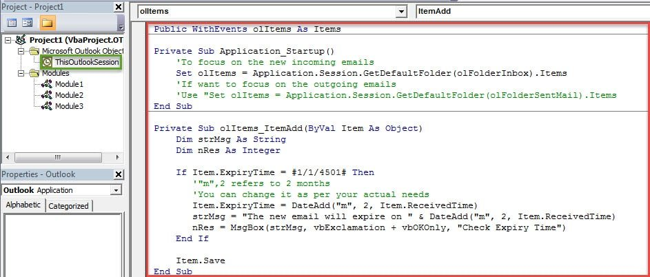 VBA Codes - Auto Set an Expiry Time for Incoming or Outgoing Emails