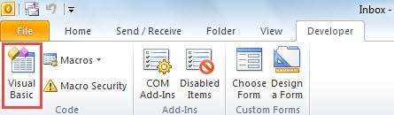 Visual Basic under Developer Tab