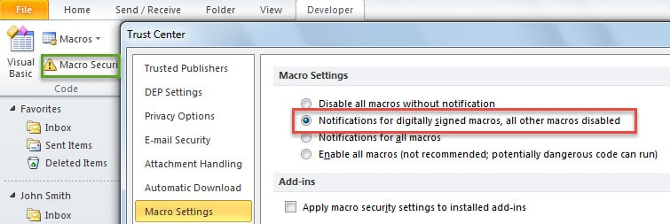 Change Outlook Macro Settings