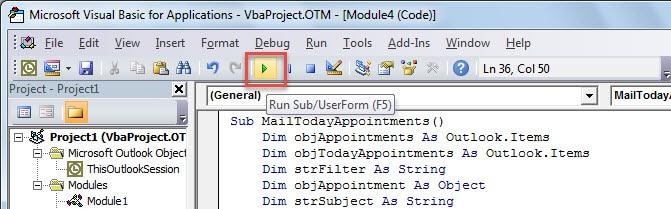 Run the New VBA Project