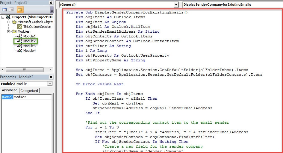 VBA Codes - Display the Senders' Companies for the Exsiting Emails