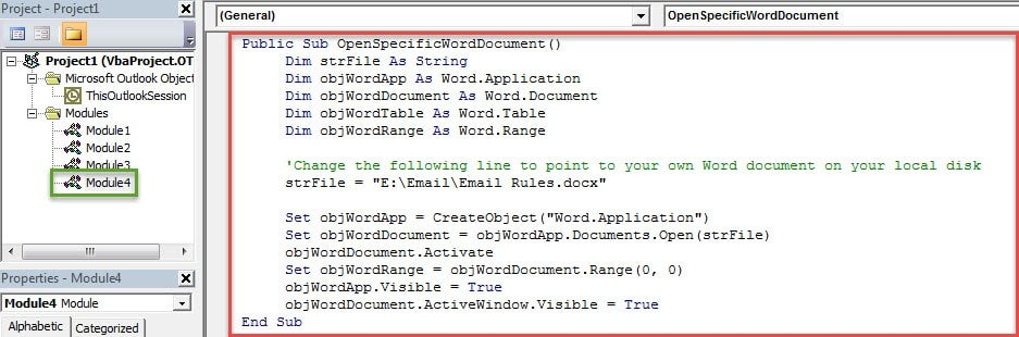 VBA Codes - Open a Specific Word Document in Outlook