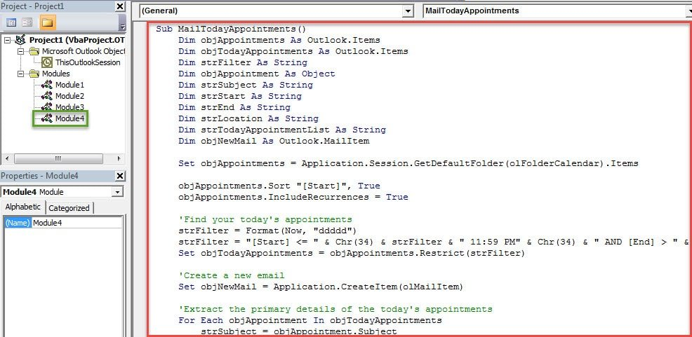 VBA Codes - Send Your Today's Appointments to Someone