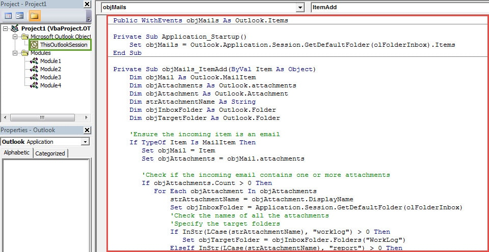 VBA Codes - Auto Move Incoming Emails to Specific Folders Based on Attachment File Names