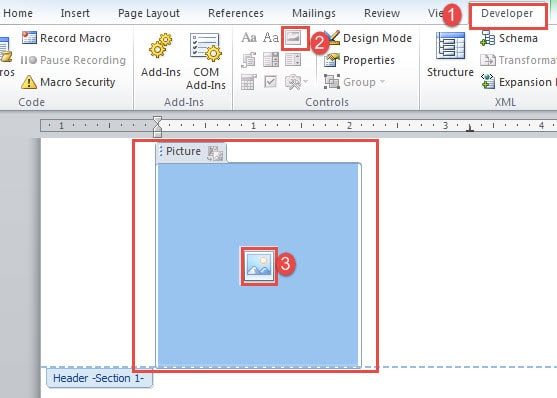 """Click """"Developer""""->Choose """"Picture Content Control""""->Click the icon in the middle of the box"""