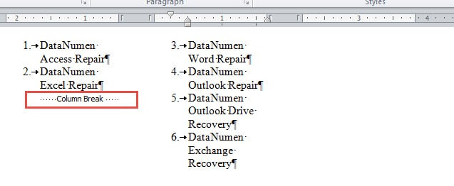 how to create two bulleted columns in word