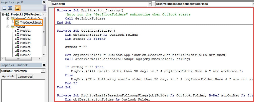 VBA Codes - Auto Archive the Incoming Emails Based on Their Follow up Flags