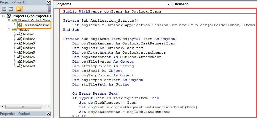 VBA Code - Auto Print the Attachments in Incoming Task Requests