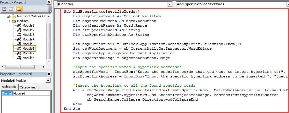 how to batch insert hyperlinks for all occurrences of a
