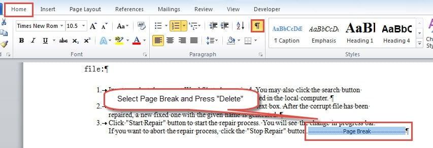 """Select Page Break ->Press """"Delete"""""""