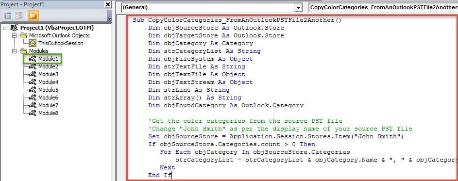 VBA Code - Quickly Copy All Color Categories from One Outlook PST File to Another