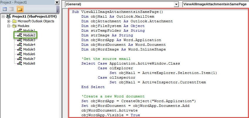 VBA Code - View All Image Attachments of an Outlook Email at the Same Time