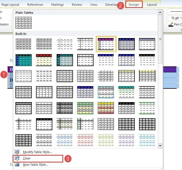 "Select Table->Click ""Design""->Click ""Clear"""