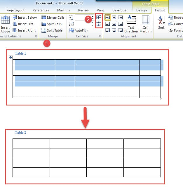 how to add rows and columns in table word