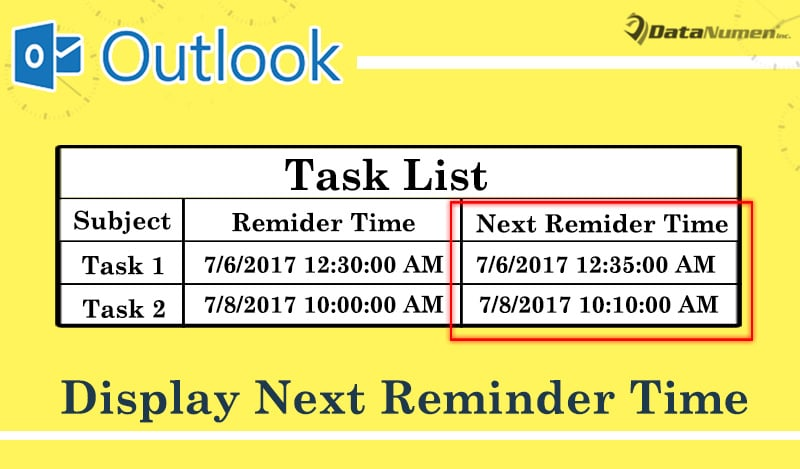 How to Display Next Reminder Time in Task List with Outlook