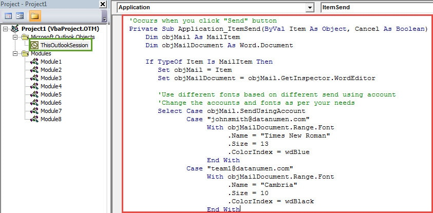 VBA Code - Use Different Fonts for Different Accounts