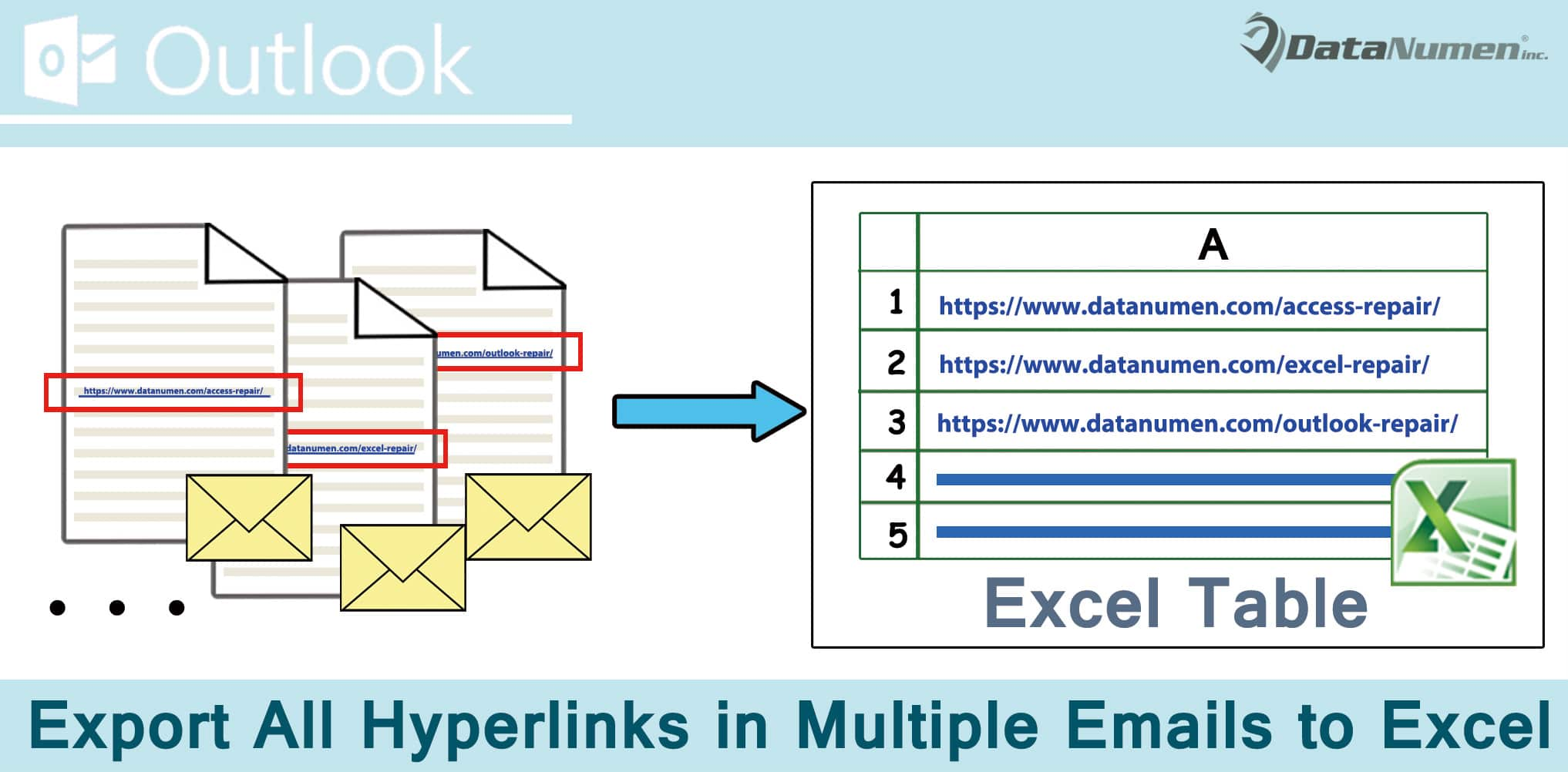 how to quickly export all hyperlinks in multiple outlook emails to excel