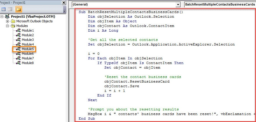 VBA Code - Batch Reset the Styles of Multiple Contacts' Business Cards