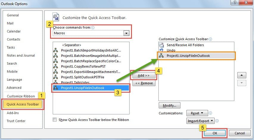 Add Macro to Quick Access Toolbar